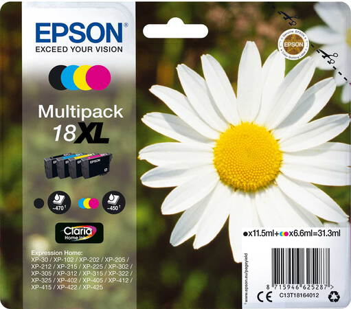 Epson Multipack Claria™ Home Ink 18XL Noir + 3 couleurs